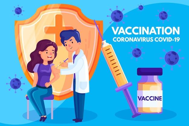 Coronavirus vaccinatie achtergrond concept Premium Vector