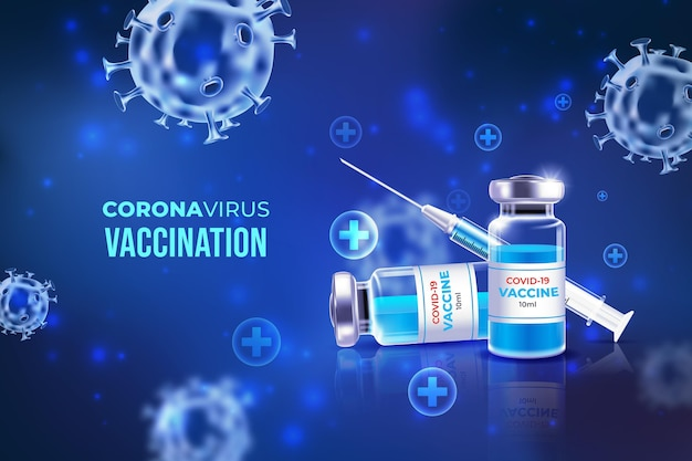 Coronavirus vaccinatie achtergrond Gratis Vector