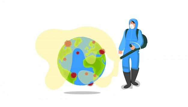 Coronavirus vechten. specialist in beschermend pak spuit een speciaal hulpmiddel op de planeet om het gevaarlijke coronavirus te vernietigen. reinigen, desinfecteren om covid-19 over de hele wereld te voorkomen. Premium Vector