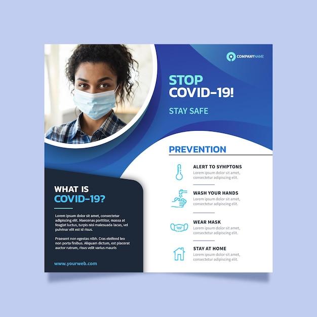 Coronavirus vierkante flyer-sjabloon Gratis Vector