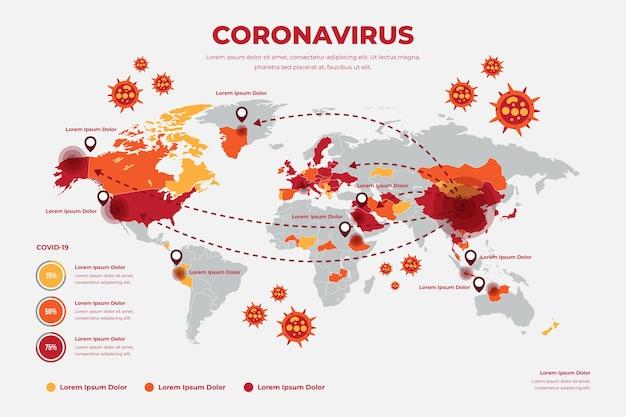 Coronavirus wereldkaart concept Gratis Vector
