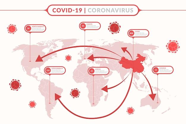 Coronavirus wereldwijde kaart Gratis Vector