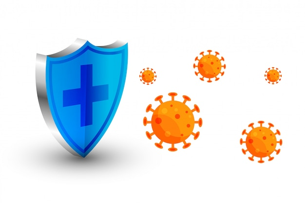 Coronavirusbeschermingsschild stopt het virus om binnen te komen Gratis Vector