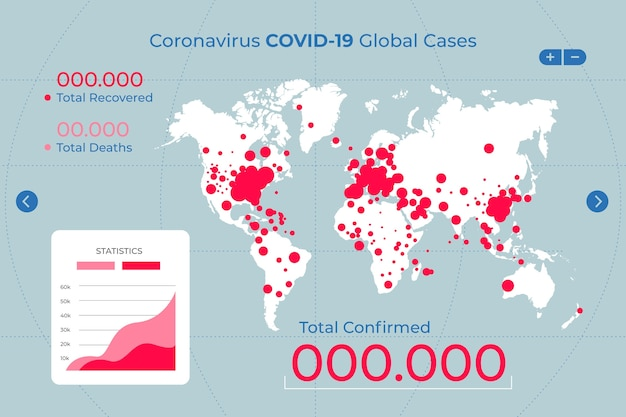 Coronaviruskaart geïllustreerd met details Gratis Vector