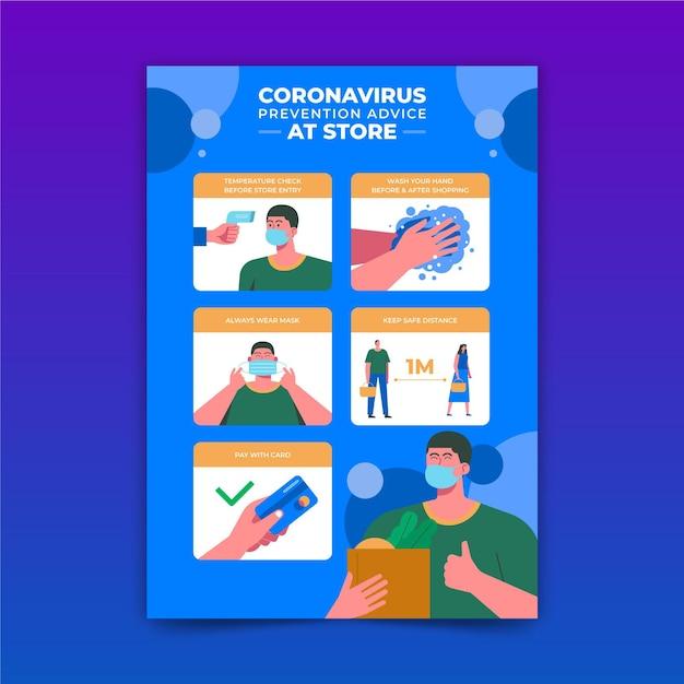 Coronaviruspreventieposter voor winkels Gratis Vector