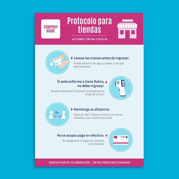 Coronavirusprotocol voor zakelijke poster Gratis Vector