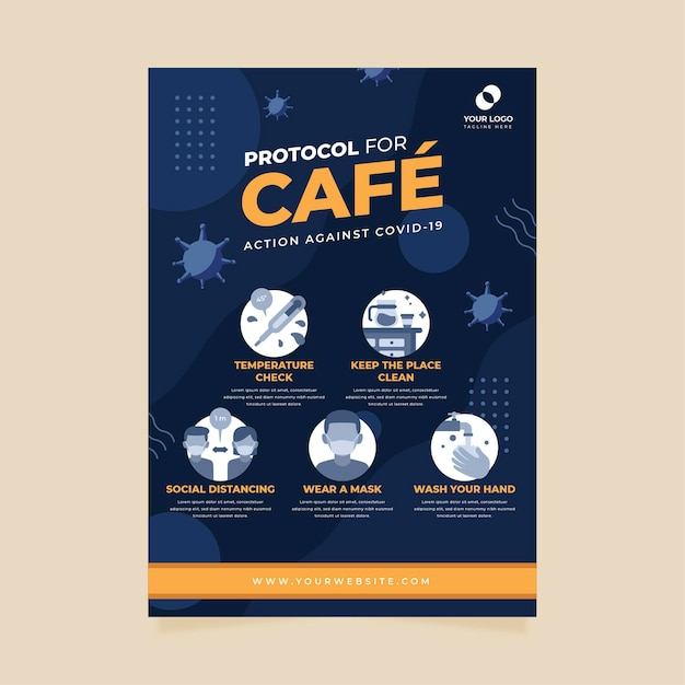 Coronavirusprotocollen voor zakelijke poster Gratis Vector