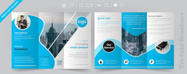 Corporate blue trifold-brochure Premium Vector
