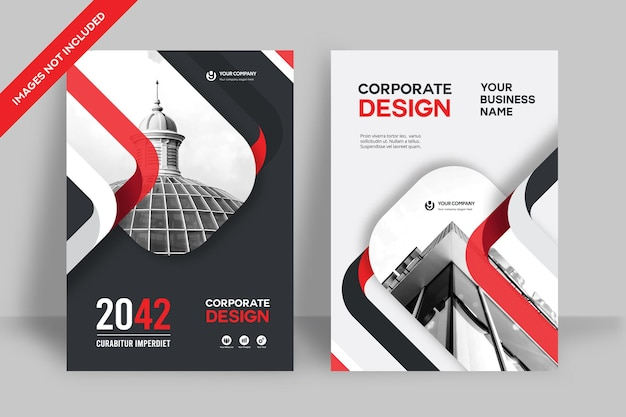 Corporate book cover ontwerpsjabloon Premium Vector