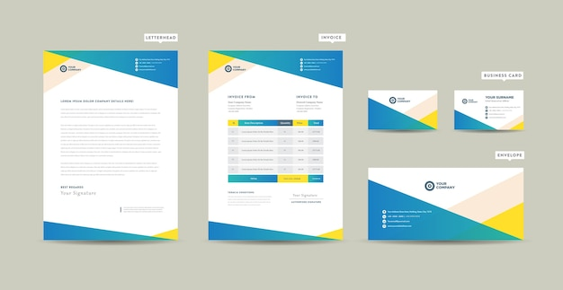 Corporate business branding identiteit of briefpapierontwerp of startend bedrijfsdocumentontwerp Premium Vector