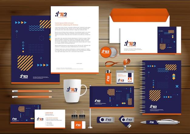 Corporate business identity design vector briefpapier Premium Vector