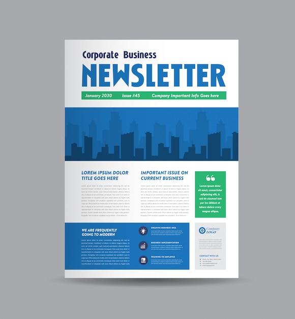 Corporate business nieuwsbrief ontwerp Premium Vector