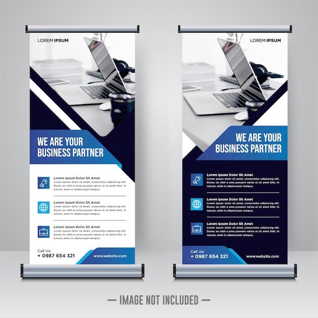 Corporate construction rollup of x banner ontwerpsjabloon Premium Vector
