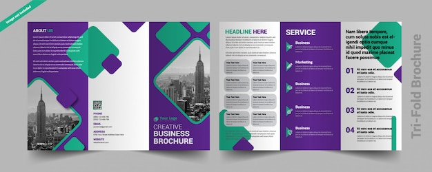 Corporate drievoudige brochure Premium Vector