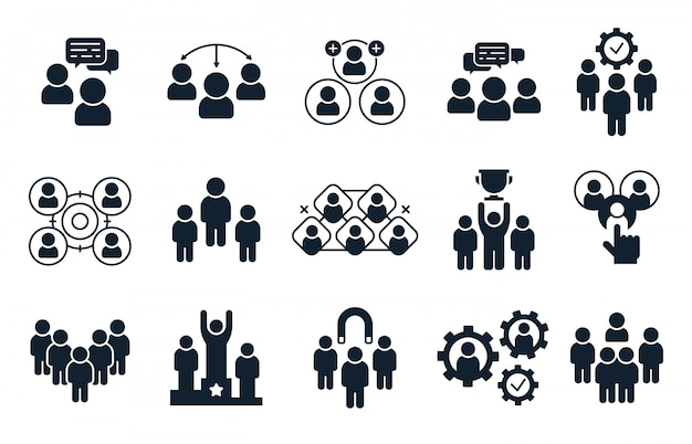 Corporate mensen icoon. groep personen, office teamwork pictogram en business team silhouet pictogrammen instellen Premium Vector