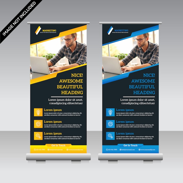 Corporate roll-up banner Premium Vector