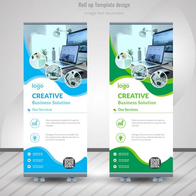 Corporate roll-up bannerontwerp Premium Vector