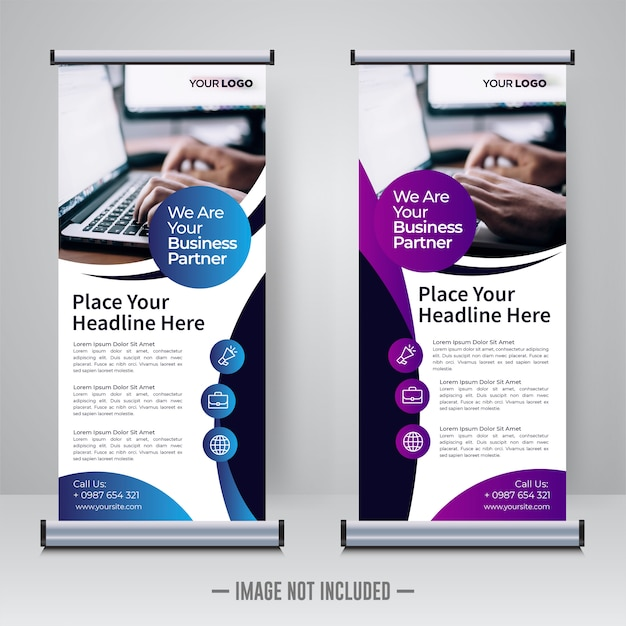 Corporate updatepakket of x banner ontwerpsjabloon Premium Vector