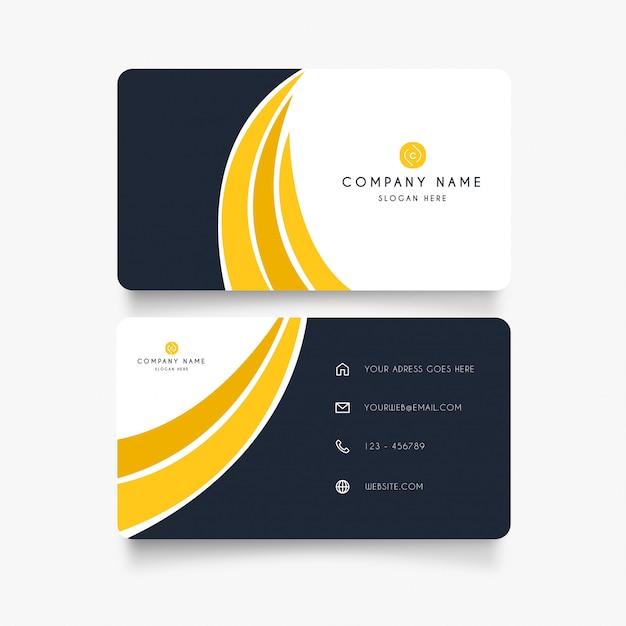 Corporatief visitekaartje met gele golven Gratis Vector