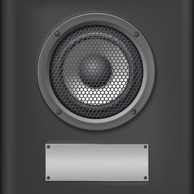 Correcte spreker met metaalplaat op donkere achtergrond Premium Vector