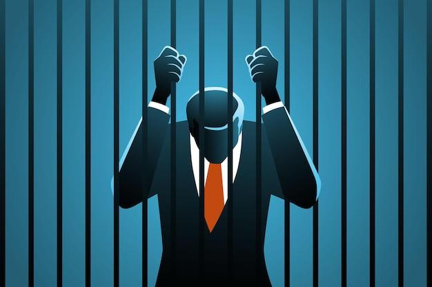 Corrupte zakenman in de gevangenis Premium Vector