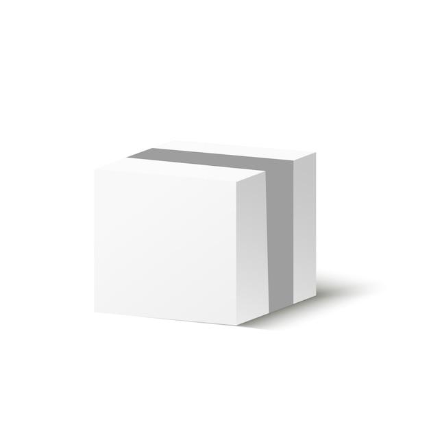 Corton box op een transparante achtergrond. illustratie van een geschenk of pakket. Premium Vector