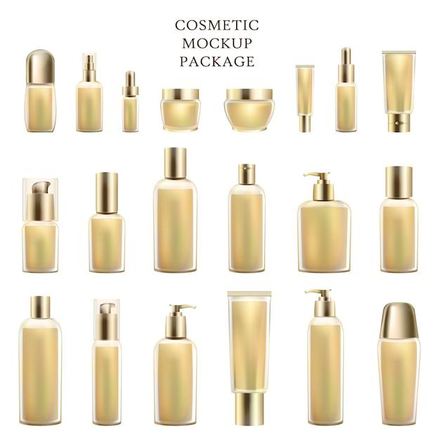 Cosmetic mockup package set luxeproducten Premium Vector