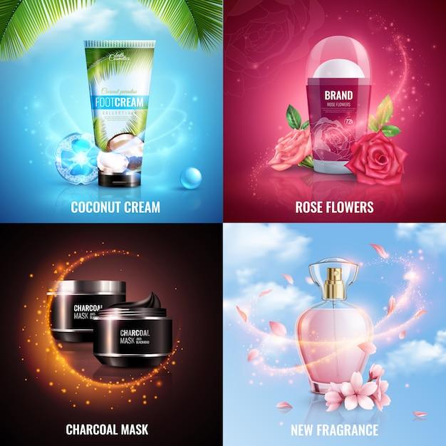 Cosmetica 2x2 ontwerpconcept met kokoscrème roze bloemen houtskoolmasker en nieuwe geur vierkante pictogrammen versierd met magische vliegende glitters effect realistisch Gratis Vector