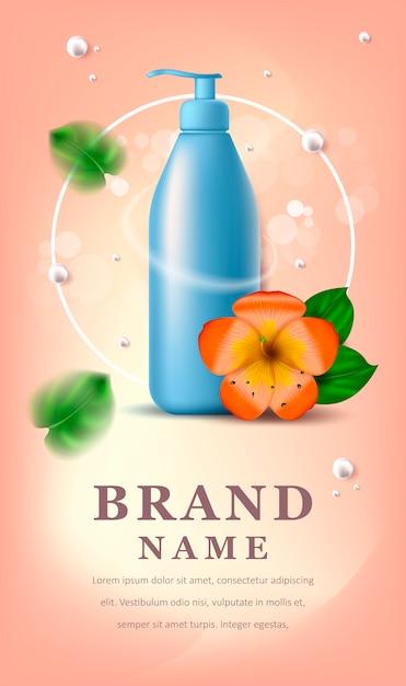 Cosmetica banner met bloem Premium Vector