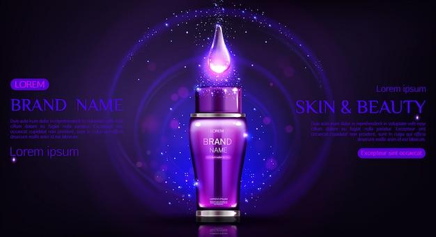Cosmetica fles donker sjabloon voor spandoek Gratis Vector