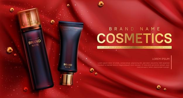 Cosmetica flessen banner. schoonheid lichaamsverzorging Gratis Vector
