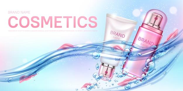 Cosmetica flessen drijvend in water met bloemblaadjes banner Gratis Vector