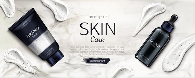 Cosmetica flessen huidverzorging reclame, schoonheid lijn Gratis Vector