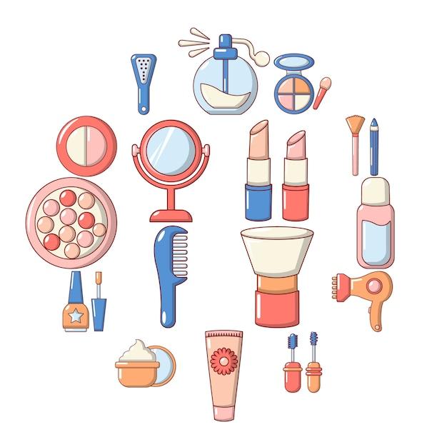 Cosmetica icon set, cartoon stijl Premium Vector