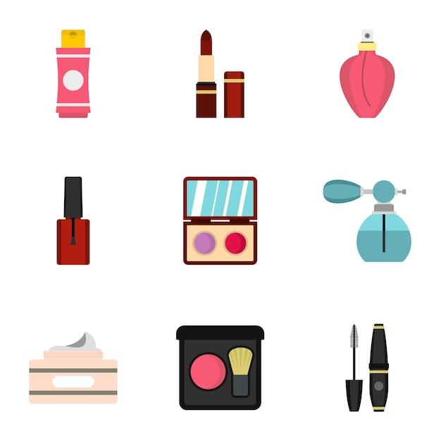 Cosmetica icon set, vlakke stijl Premium Vector