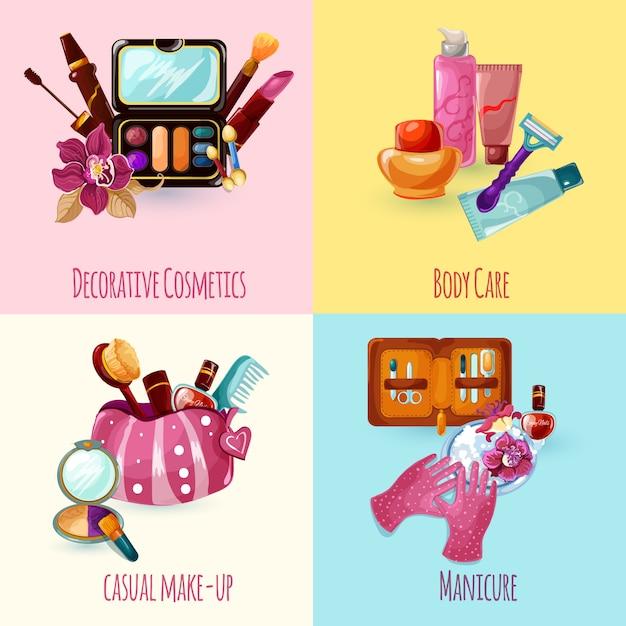 Cosmetica icons set Gratis Vector