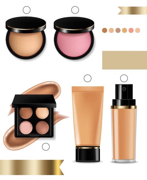 Cosmetica oogschaduw, lipgloss en poeder blush collectie Premium Vector
