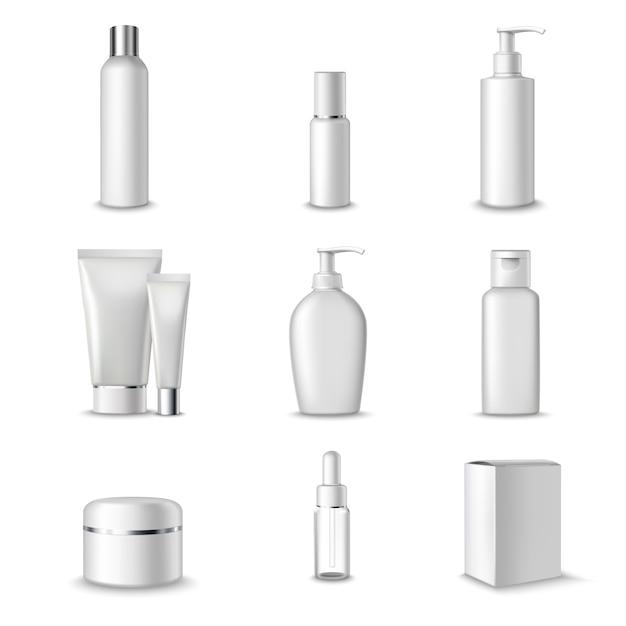 Cosmetica pakketten ingesteld Gratis Vector