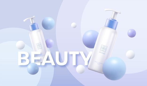 Cosmetica reclame poster sjabloon witte crème buis op de achtergrond van geometrische vormen van de bol. Premium Vector