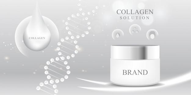 Cosmetisch 3d-pakket wit collageen serumdruppel Premium Vector