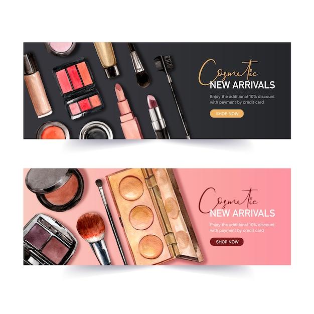Cosmetisch bannerontwerp met lippenstift, eyeliner, markeerstift Gratis Vector
