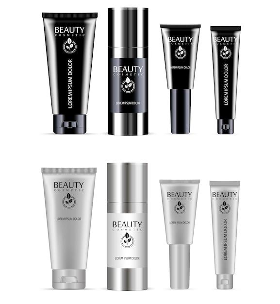 Cosmetisch flessenpakket. crème tube, lotion set Premium Vector