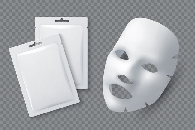 Cosmetisch gezichtsmasker. hydraterende katoenen laken voor vrouwenschoonheid. wit gezichtsreinigend masker en pakket realistisch 3d vectormodel Premium Vector