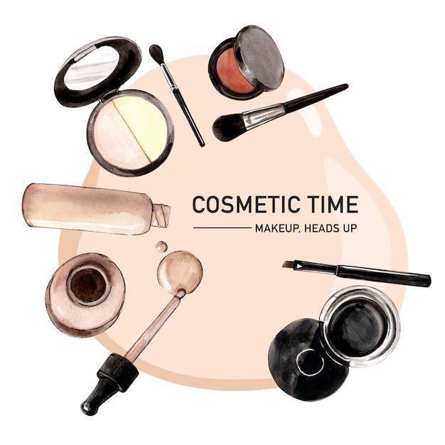 Cosmetisch kransontwerp met foundation, penseel, eyeliner Gratis Vector