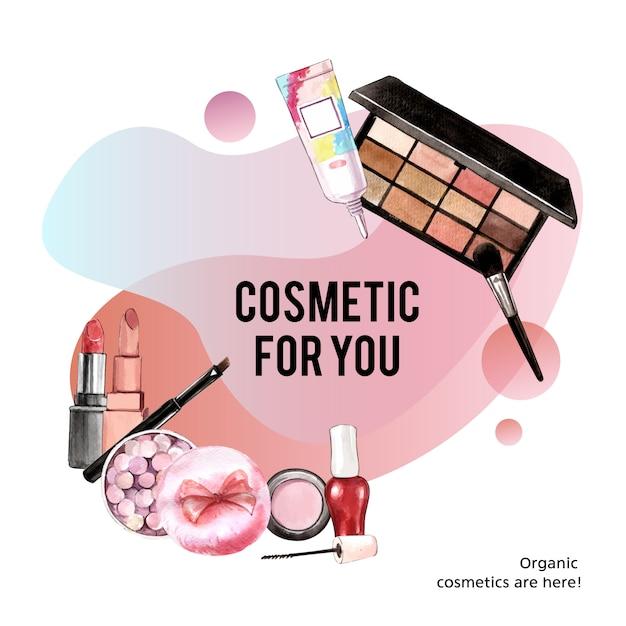 Cosmetisch kransontwerp met oogschaduw, penseel, mascara Gratis Vector