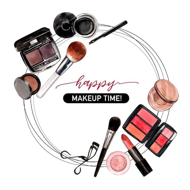 Cosmetisch kransontwerp met wimperkruller, eyeliner, borstel Gratis Vector