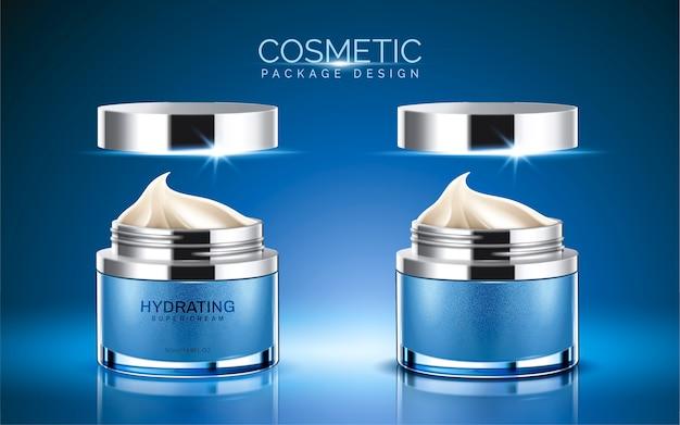 Cosmetisch pakket, blauwe kleur crème pot met crèmetextuur in afbeelding Premium Vector