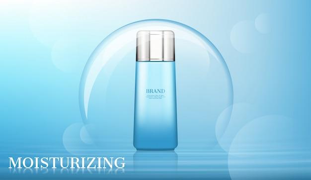 Cosmetisch product in grote bubbel met vervaagde bokeh Premium Vector