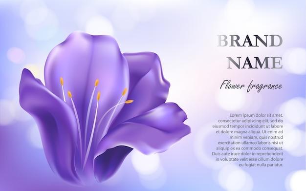 Cosmetische achtergrond met een paarse bloem Gratis Vector