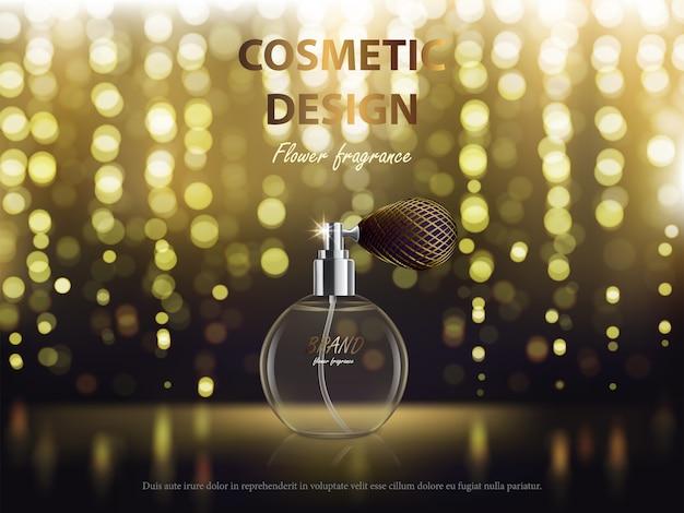 Cosmetische achtergrond met ronde fles met geur Gratis Vector